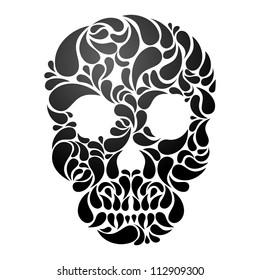 Black Skull isolated on white background. EPS 8 vector illustration.