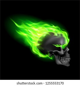 Black Skull on Green Fire with Flames. Illustration of Speeding Flaming Skull from the Side on Black Background