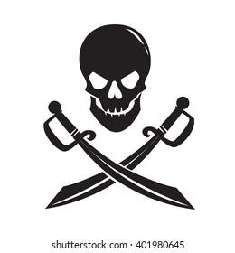 Black skull with swords isolated on white background. Vector Illustration
