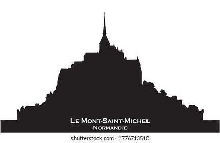 Black skyline silhouette from Mont Saint-Michel, France on white background