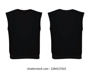 Black sleeveless sweater. vector illustration