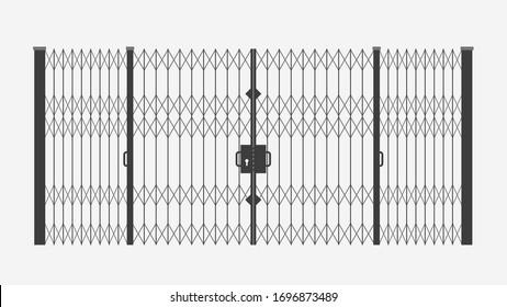 black sliding gates on white
