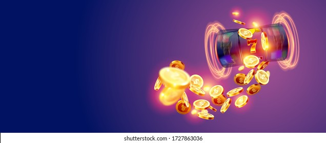The black slot machine wins the jackpot 777 on the background of an explosion of coins. Vector illustration