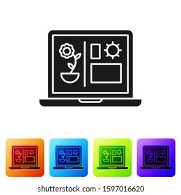 Black Smart farming technology - farm automation system icon isolated on white background. Set icons in color square buttons. Vector Illustration