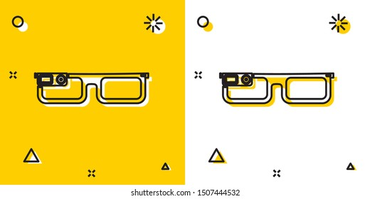 Black Smart glasses mounted on spectacles icon isolated on yellow and white background. Wearable electronics smart glasses with camera and display. Random dynamic shapes. Vector Illustration