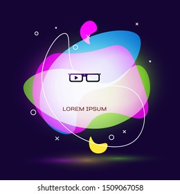 Black Smart glasses mounted on spectacles icon isolated on dark blue background. Wearable electronics smart glasses with camera and display. Abstract banner with liquid shapes. Vector Illustration