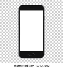 Black smart phone with button isolated on transparent background, vector illustration.