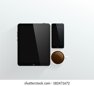 black Smart Phone with cup of coffee and computer tablet.
