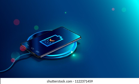 Black smart phone on wireless charging device on blue background. Icon battery and charging progress lighting on screen smart phone. Isometric vector illustration.