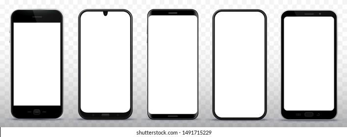 Black Smart Phone Vector Illustration Set on Transparent Background
