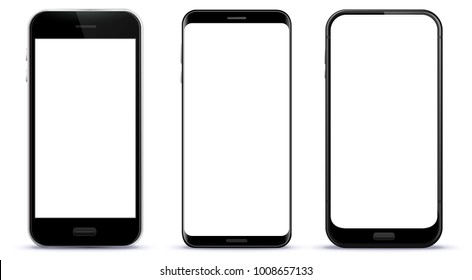 Black Smart Phones Vector Illustration