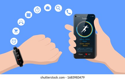 Black smart watch on your hand and smart phone, mobile fitness app with running tracker and heart rate meter, healthy lifestyle concept, realistic vector illustration