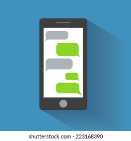 Black smartphone with blank speech bubbles on the screen. Text messaging flat design concept. Eps 10 vector illustration