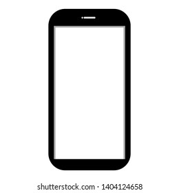 black smartphone with blank white screen display isolated on white background. vector ullustration