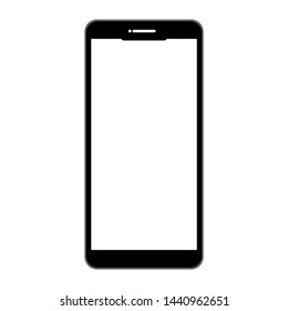 black smartphone with blank white screen isolated on white background. vector illustration