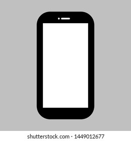 black smartphone with blank white screen on grey background. vector illustration