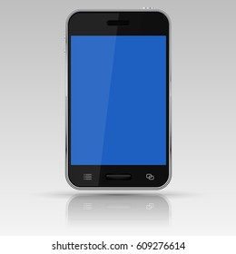 Black smartphone with blue screen. Vector 3d illustration isolated on white background