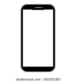 black smartphone with empty white screen for add picture or text isolated on white background. vector illustration