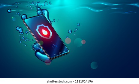 Black smartphone fall in water. Mobile smart phone with touch screen sinks underwater surface. Electronic waterproof or water resistance phone falling and dive in sea with bubbles. Icon waterproof shi