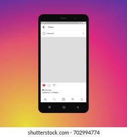 Black smartphone with insagram on screen. Modern design. Vector illustration. EPS10.