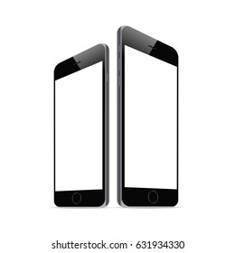 Black smartphone iPhone 6 with blank screen isolated. Responsive screens mockups to showcase your app or mobile web site design. Vector illustration