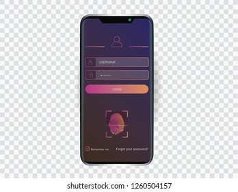 Black smartphone with login user interface. Sign in web element template window via fingerprint scanning Identification System. UI, UX and GUI Screens.