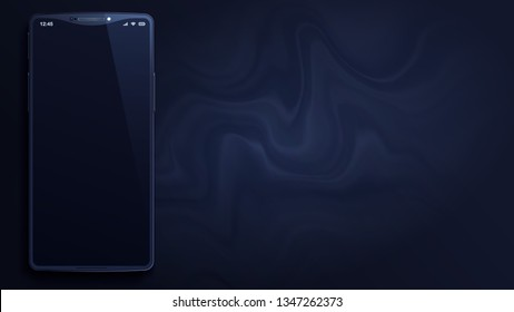 Black smartphone is on abstract dark marbling background. Imaginary phone with original shape of a frame. 3d realistic vector image. Dark gray wallpaper with a trendy fluid painting. 16:9 aspect ratio