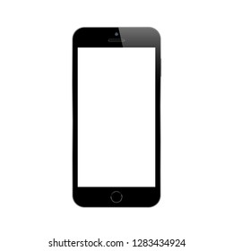 Black smartphone on white background. Mock up phone with blank screen. Isolated vector illustration.
