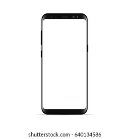 Black smartphone Samsung Galaxy S8 with blank screen isolated on white background. Mockup to showcasing mobile web-site design or screenshots your applications. Vector illustration