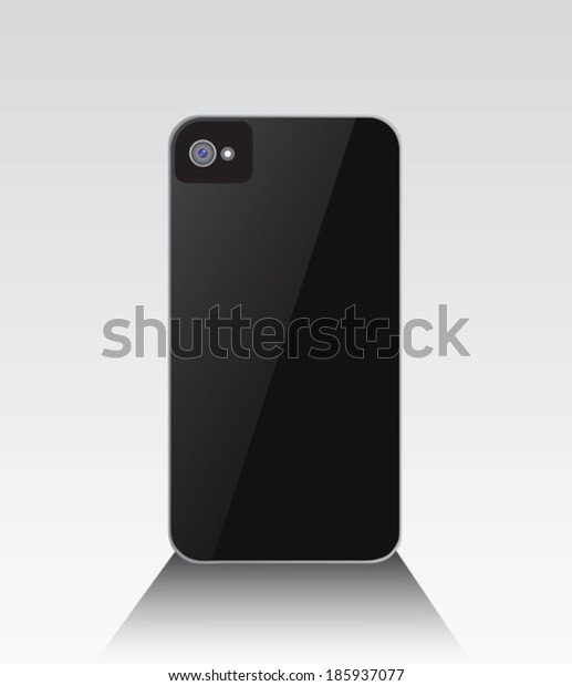 Black smartphone standing with lens on grey background