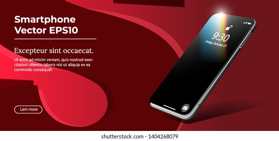 Black Smartphone. Vector 3D Realistic Cell Phone in Perspective View. Digital Mockup with on Trendy Red Background. Realistic Template of Imaginary Mobile Phone for Responsive Website and Mobile Apps.