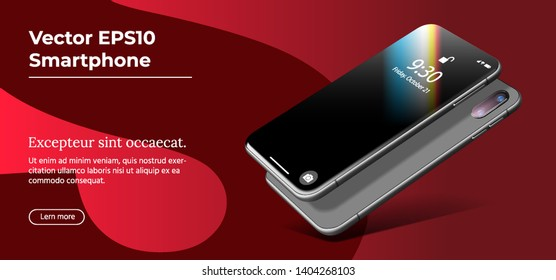 Black Smartphone. Vector 3D Realistic Cell Phone in Perspective View. Digital Mockup with on Trendy Red Background. Realistic Template of Mobile Phone for Responsive Website and Mobile Apps.