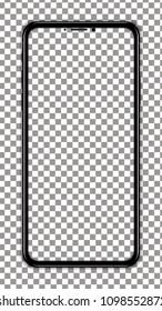 black smartphone vector transparent screen