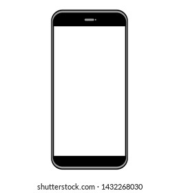 black smartphone with white blank screen for add picture or words isolated on white background. vector illustration