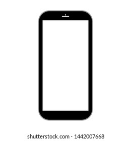 black smartphone with white blank screen isolated on white background. vector illustration