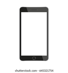 Black smartphone with a white screen.