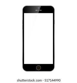 Black smartphone with white screen, menu button and camera, vector eps10. Smartphone mobile phone black color top view. Black Smartphone top, isolated on white.