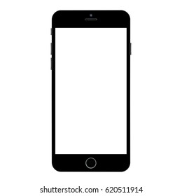 Black smartphone with white screen on white background. Smartphone iphone vector eps10.front side view. Realistic smartphone black color with white screen.