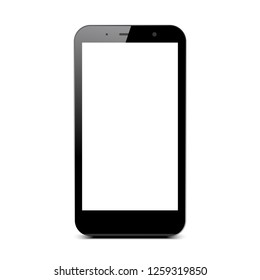Black smartphone with white touch screen - vector for stock