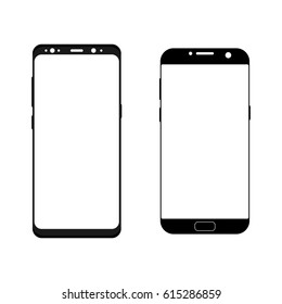 Black smartphones Samsung Galaxy S7 and S8 wireframe isolated on white background. Outline devices mockups. Vector illustration
