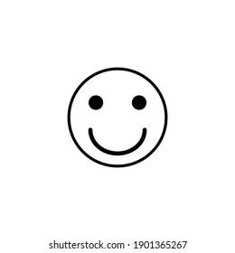 black smile icon on white background, vector illustration