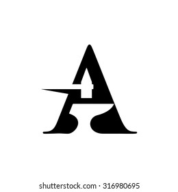 black smith letter A logo.