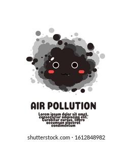 black smoke cartoon vector.ari pollution concept.pm 2.5 .