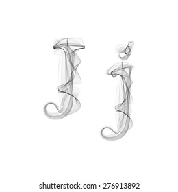 Black Smoke font on white background. Letter J. Vector illustration alphabet