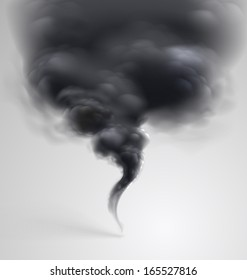 Black  smoke on light background. Vector illustration