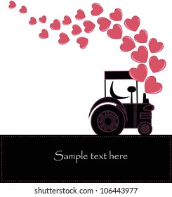 Black smoke from a tractor with hearts