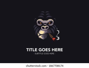 Black smoking gorilla face logo vecctor
