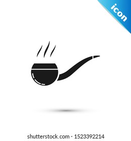 Black Smoking pipe with smoke icon isolated on white background. Tobacco pipe.  Vector Illustration