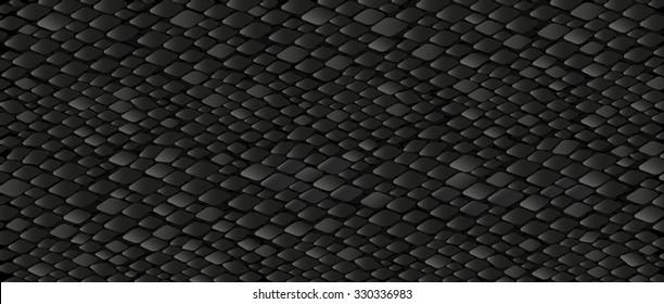 Black snake skin pattern vector texture. Reptile seamless pattern design