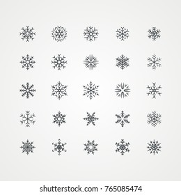 Black snowflakes icon on white background
